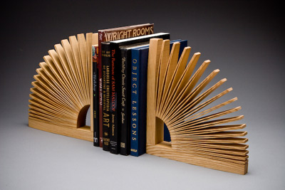 one piece ash wood bookends in use