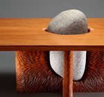 Tsubo Coffee Table, carved Mahogany and Stone