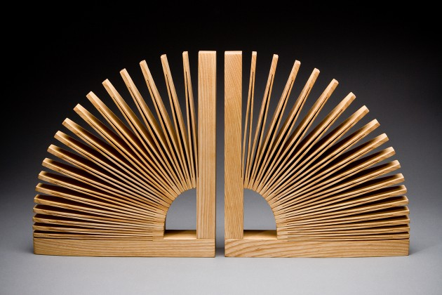 Abanico contemporary wood bookends hand crafted by Seth Rolland custom furniture design