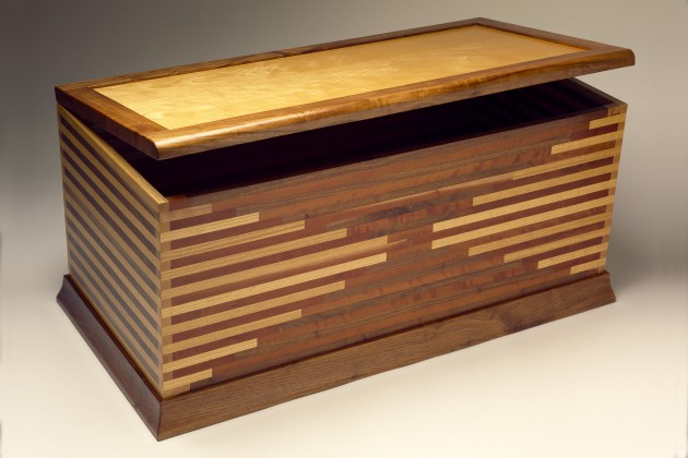 Solid wood blanket chest with cedar bottom by Seth Rolland custom furniture design