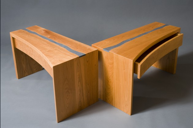 wood nightstands, side, end, tables with drawers made from cherry wood and slate by seth Rolland woodworks