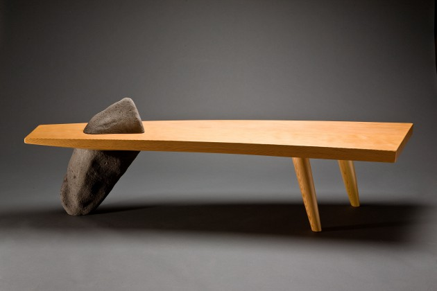 Unique stone and wood Gibraltar bench custom made by Seth Rolland furniture design