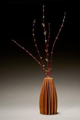 Lilac vase in alder wood, bud vase designed and created by Seth Rolland furniture maker