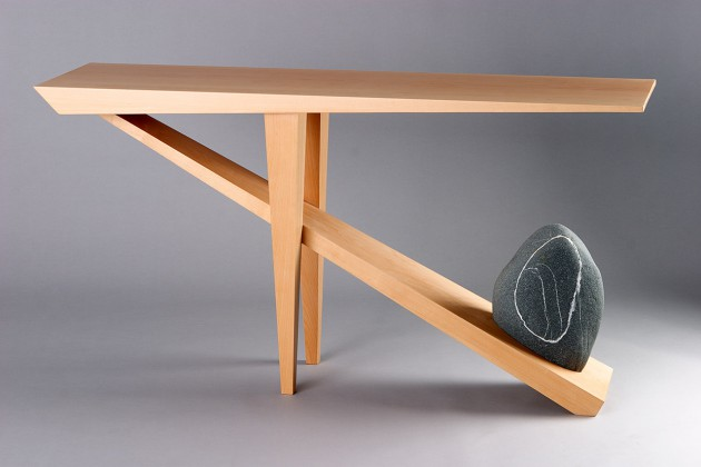 Contemporary hall, entry or console table made from solid hard wood and natural beach stone