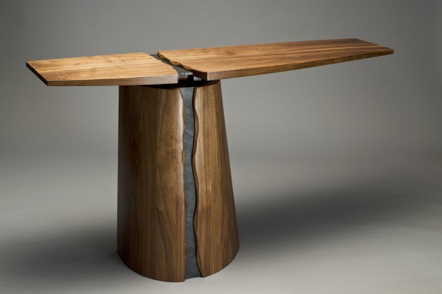 Round base Rainforest buffet table for entry or dining room by Seth Rolland custom furniture design