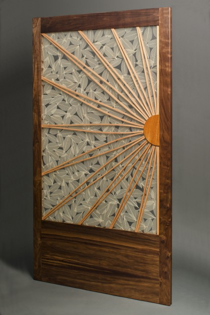 Sun and Leaf sliding door by Seth Rolland custom furniture design