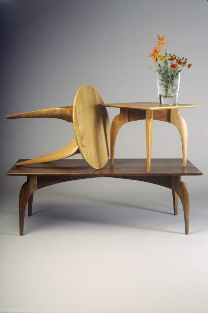 curved, modern wood coffee tables, side tables and end tables by Seth Rolland custom furniture design