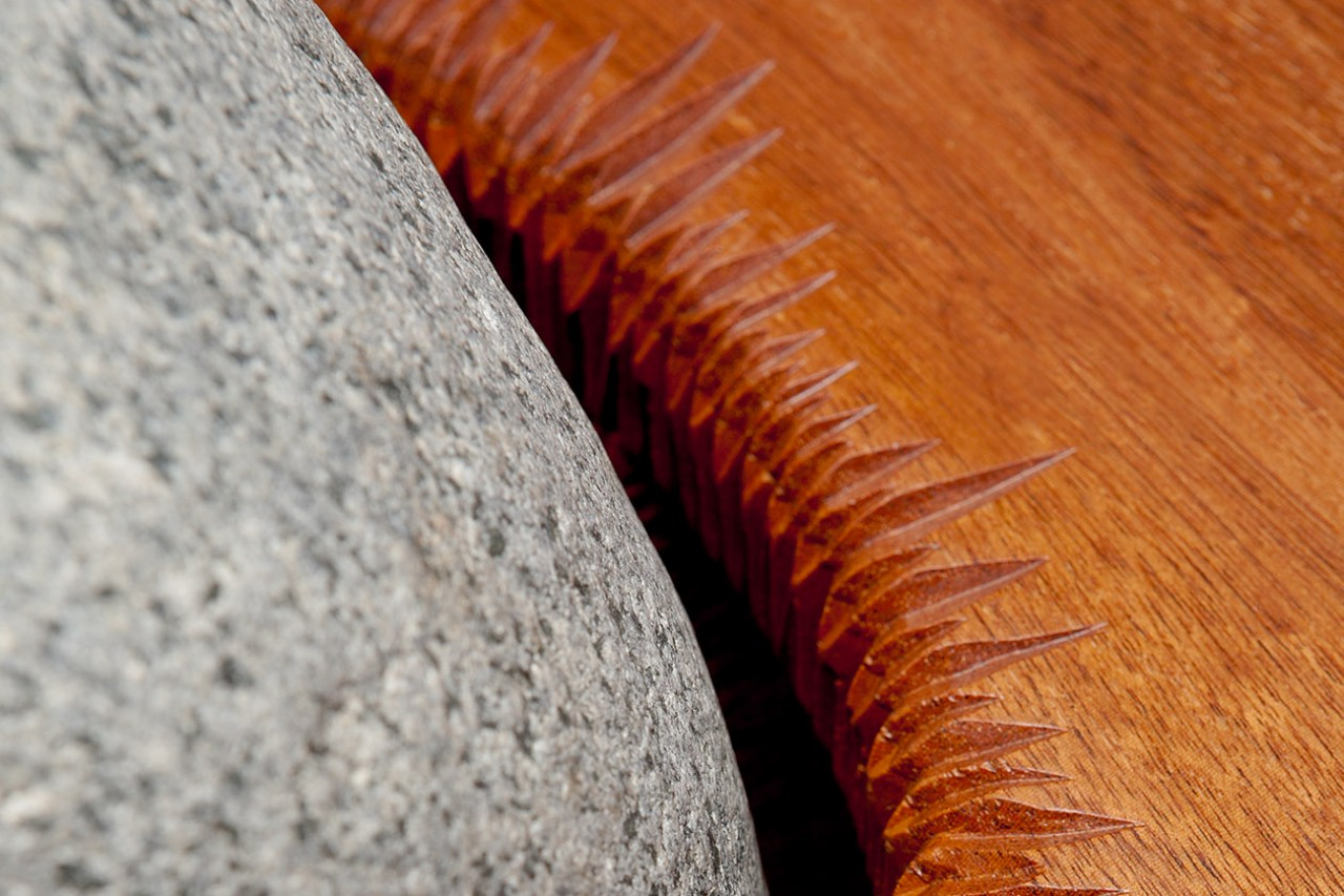 Tsubo coffee table detail made from wood and granite stone by Seth Rolland custom furniture design