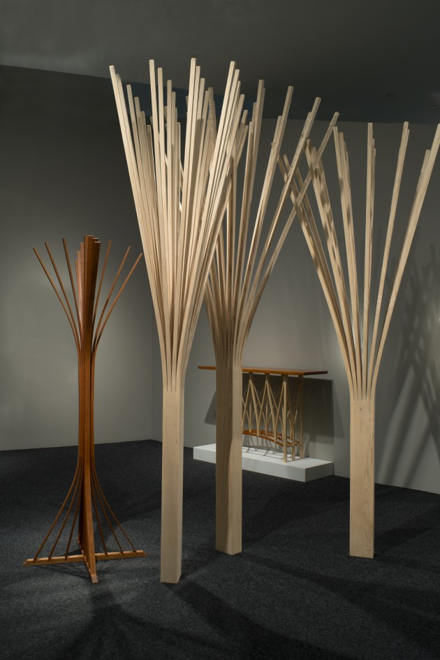 3 wood Ghost trees intersect in a grove. wood sculpture made from ash by Seth Rolland woodworker