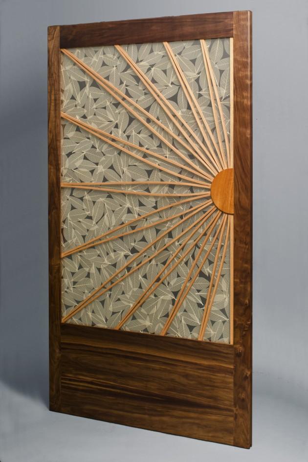 Transluscent wood frame sliding door walnut oak mahogany by Seth Rolland custom furniture design