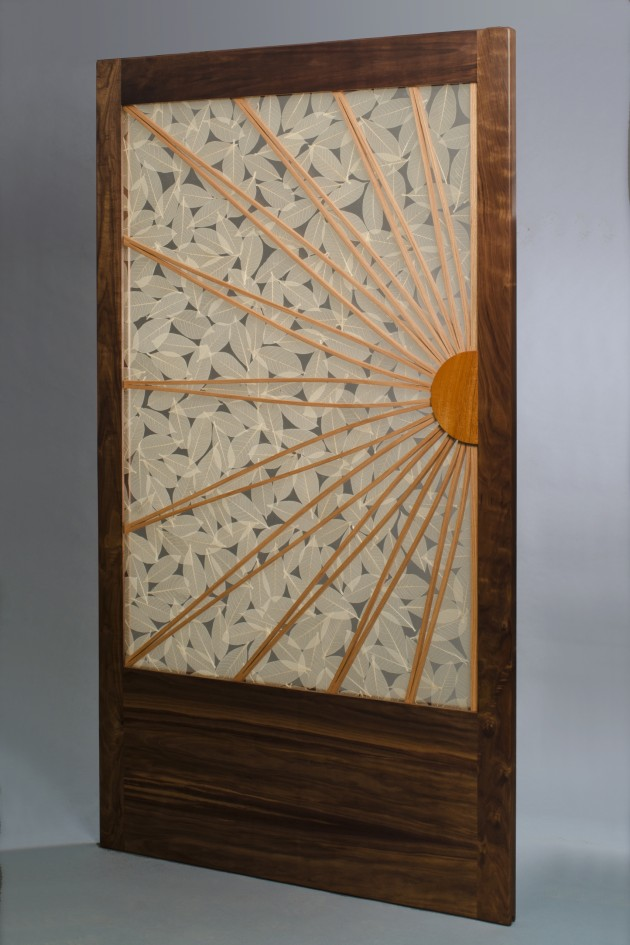 Sliding contemporary wood door with bent wood and transluscent glass hand crafted by Seth Rolland custom woodworks