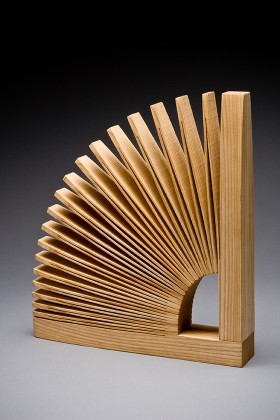 Single Abanico wooden bookend hand made by Seth Rolland custom furniture design