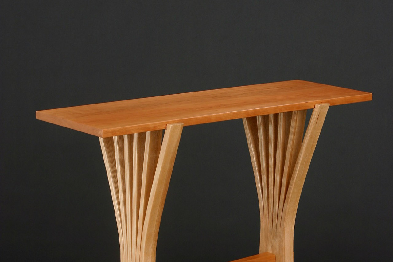 Contemporary, modern natural design entry table made from solid wood in custom sizes by Seth Rolland furniture design