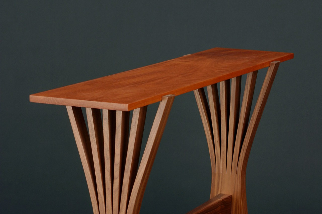 Bent wood hall, console or entry table hand made from solid wood by Seth Rolland studio woodworker design