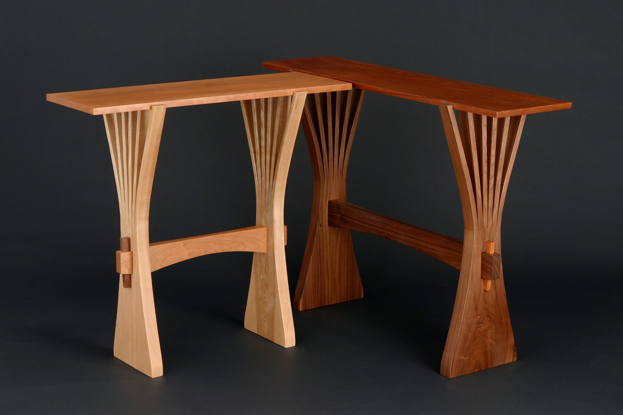 hall table and console in bent, solid wood hand crafted by Seth Rolland fine woodworking