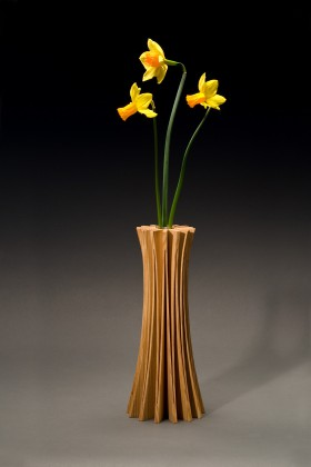 Anemone vase in ash wood is a bud vase design by Seth Rolland custom furniture
