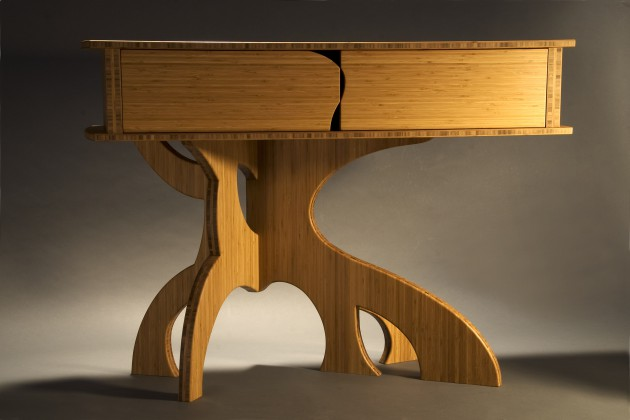 Dining room buffet with curved legs made from bamboo by Seth Rolland studio furniture design