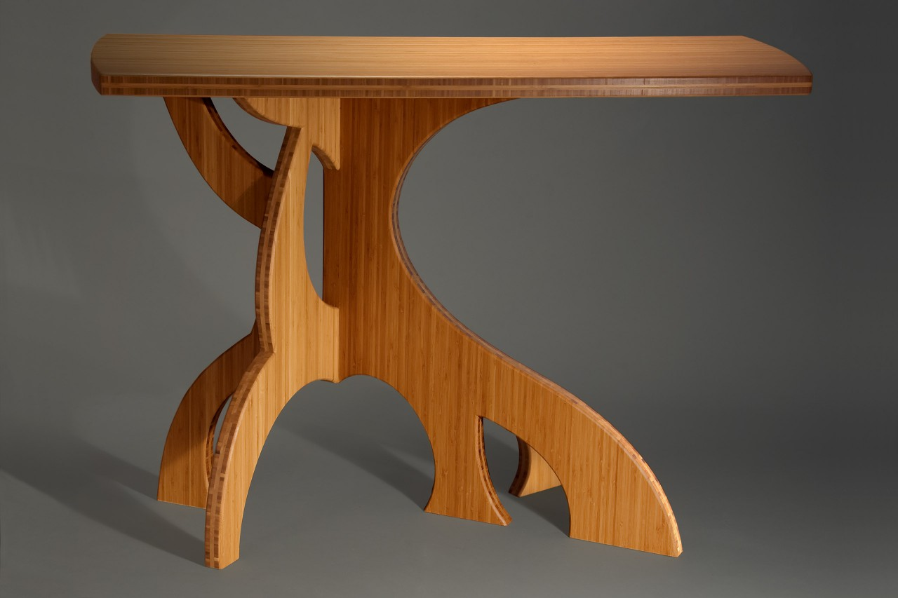 curved bamboo hall table with sculptural, organic legs by Seth Rolland custom furniture design
