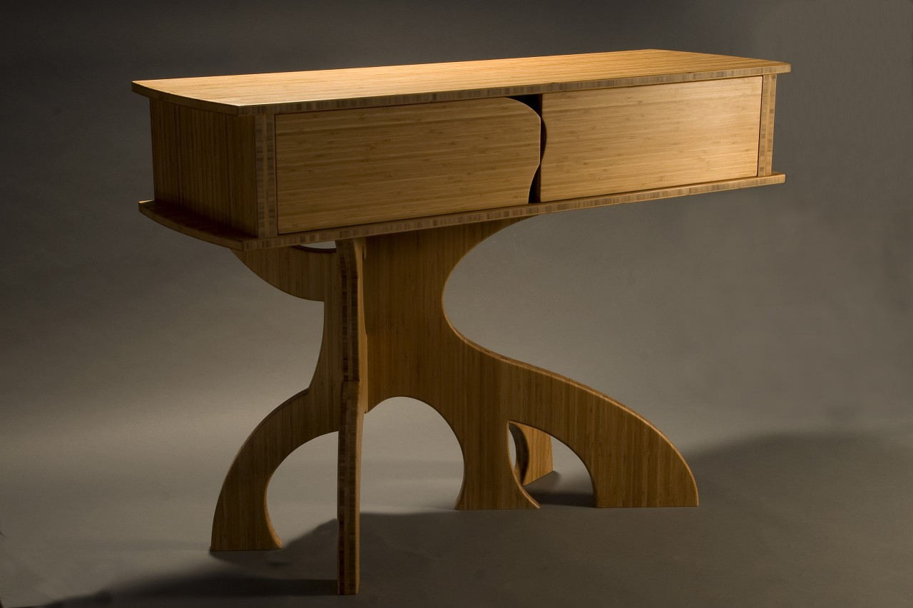 Bamboo buffet cabinet with sculptural legs custom made by furnituremaker Seth Rolland