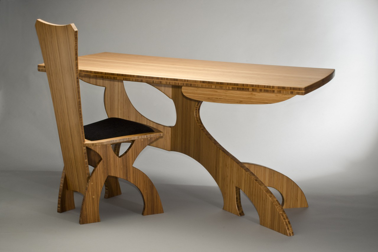 Bamboo desk and chair custom made by Seth Rolland furniture