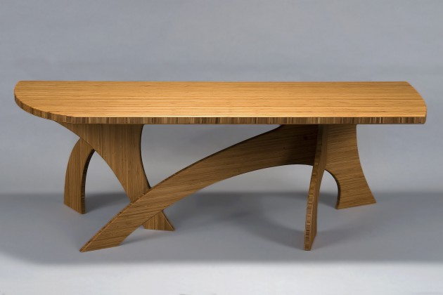 curvy, contemporary coffee table made from bamboo by seth Rolland custom furniture design