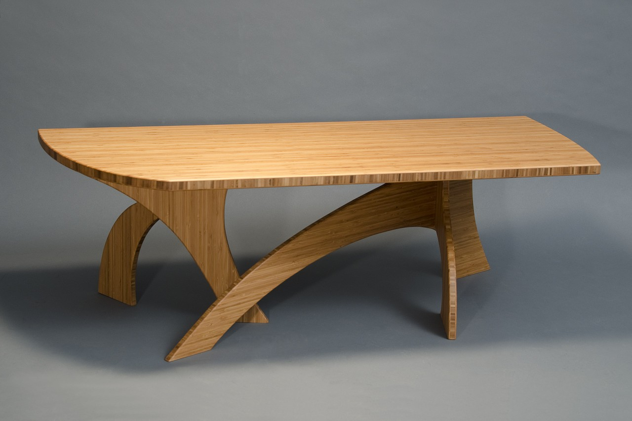Sculptural organic tree form inspired coffee table made from sustainable bamboo by Seth Rolland custom furniture design llc