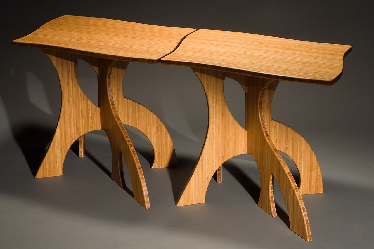Nesting Side Tables In Bamboo Contemporary Modern Hand Crafted By Seth Rolland Custom Furniture