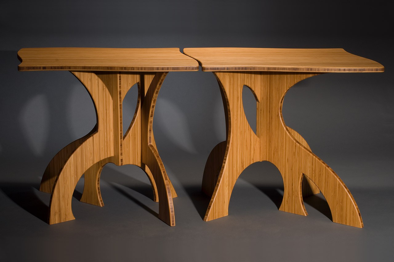 curved modern bamboo end side tables by Seth Rolland custom furniture design