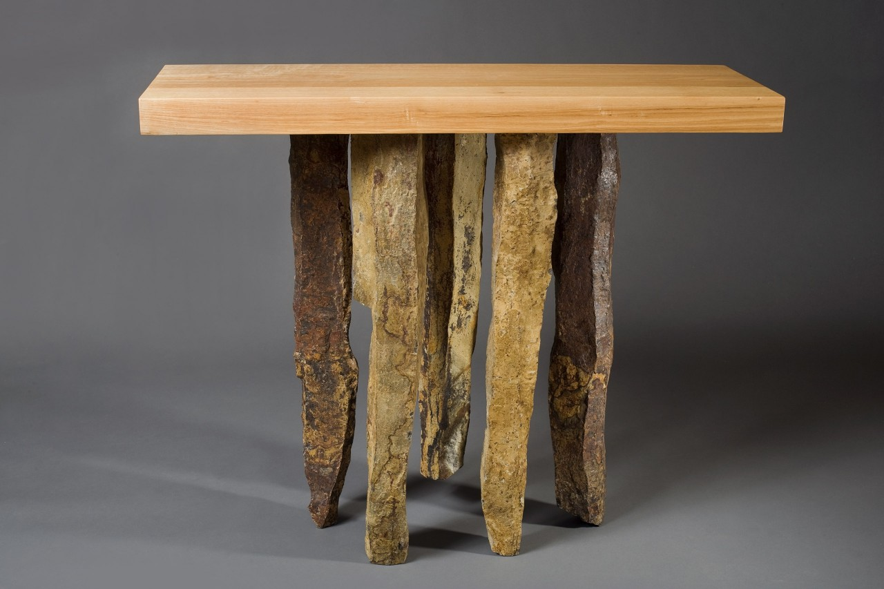 Stone and wood entry, hall table with basalt and ash by Seth Rolland custom furniture design