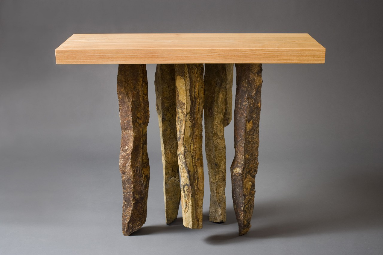 Side 2 of stone and wood entry table by Seth Rolland custom furniture design