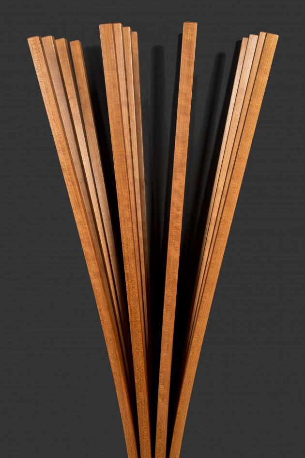 detail of Branch, a wall hung coat rack made from cherry or ash by Seth Rolland fine furniture
