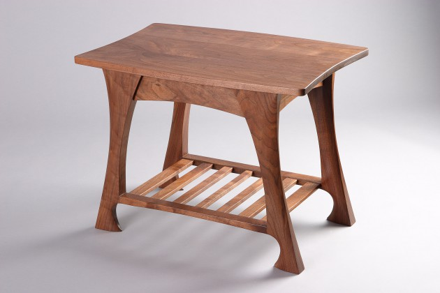 classic walnut end table or side table with shelf by seth Rolland custom furniture design