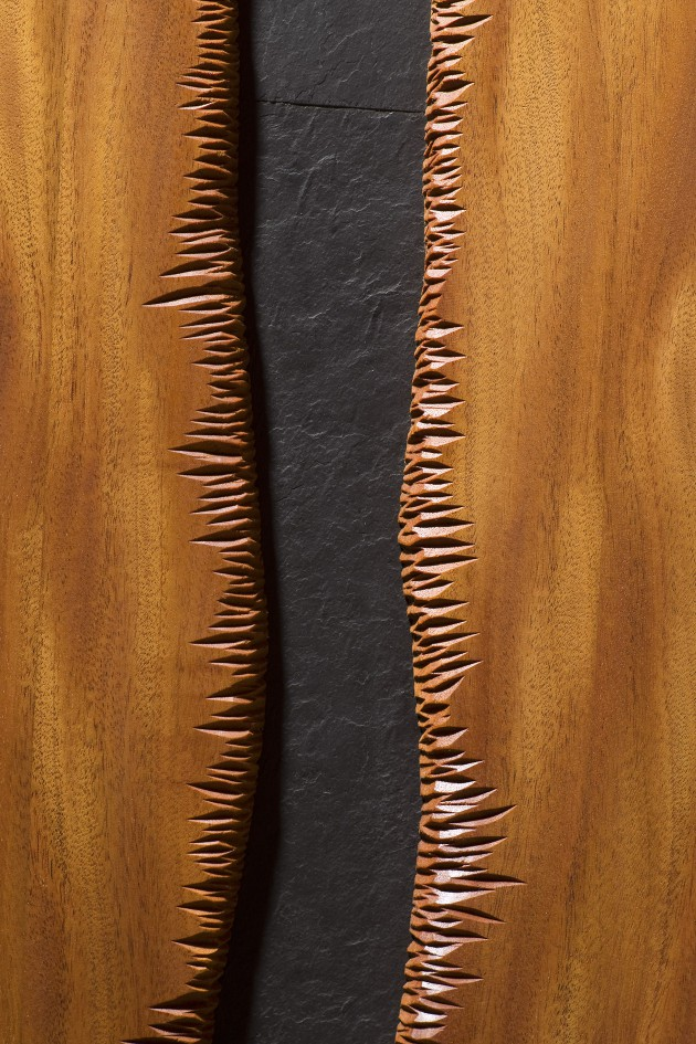 Carved wood door in mahogany and slate by Seth Rolland custom furniture design