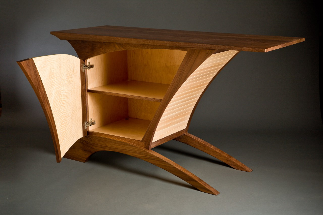 Inside of walnut and maple credenza buffet custom made by furnituremaker Seth Rolland