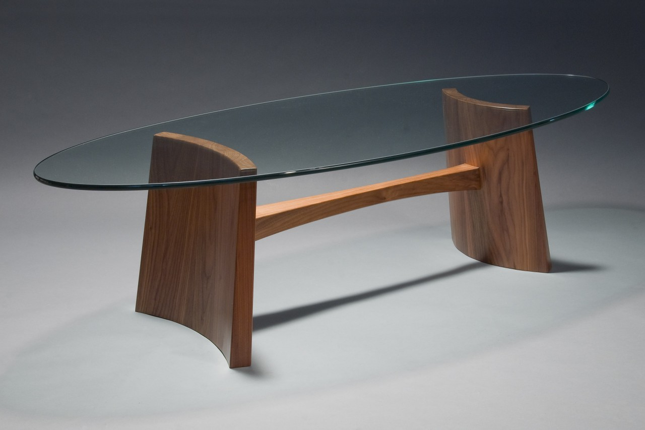Modern Contemporary Glass Top Clearwater Coffee Table Custom Made By Seth Rolland Fine Furniture Design