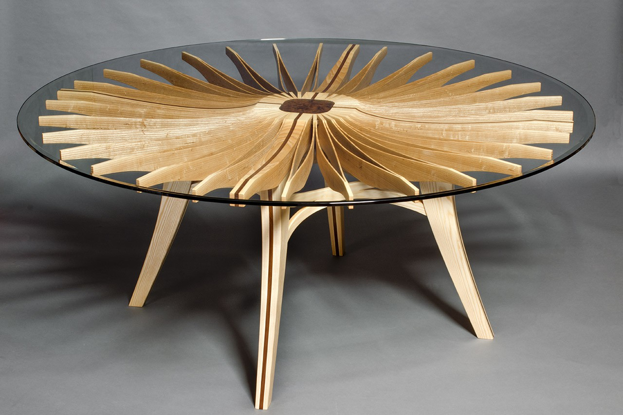 Charmant Round Wood And Glass Corona Dining Table Custom Made By Seth Rolland Fine  Furniture Design ...