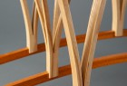 Detail of expanded wood Dreamcatcher hall table console by Seth Rolland custom furniture design