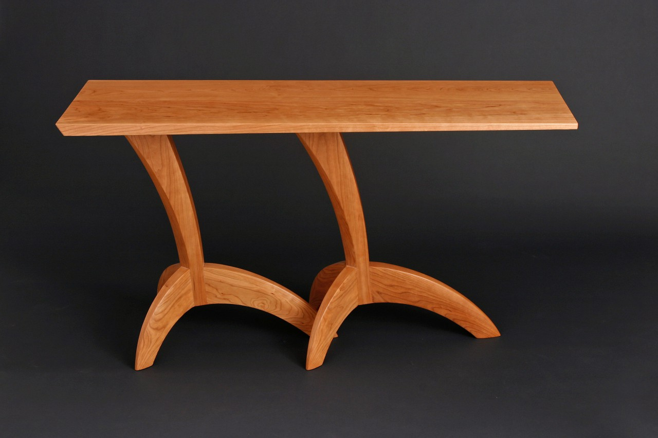 Egret wood hall table made from cherry in custom sizes by Seth Rolland fine furniture design