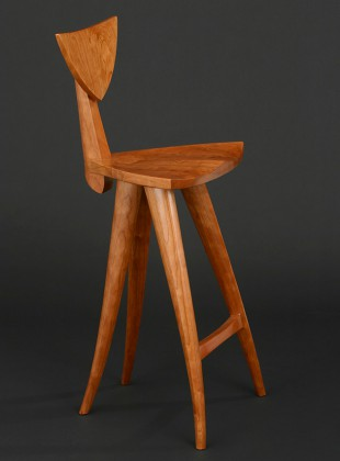 Curved sculpted wood Finback barstool hand carved by Seth Rolland custom furniture design