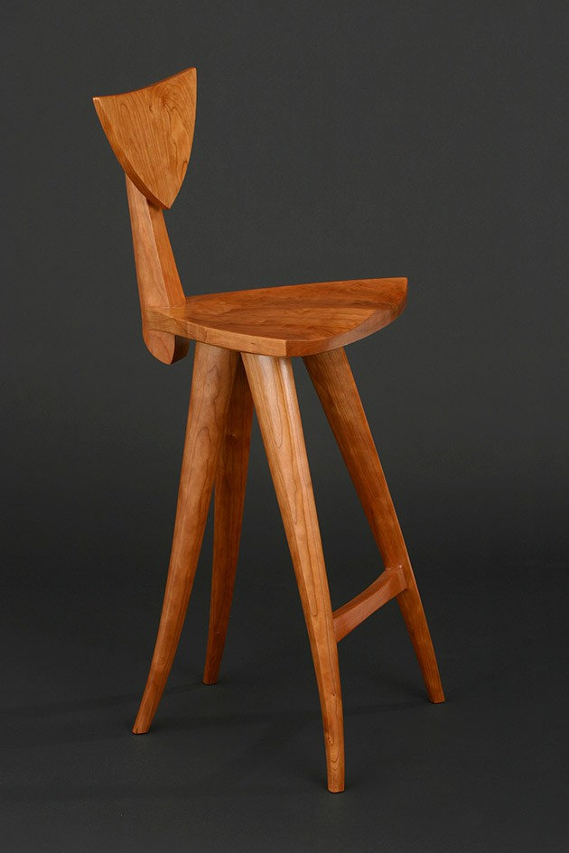 Curved sculpted wood Finback barstool hand carved by Seth Rolland custom furniture design ... & Finback Bar Stool | Custom Solid Wood Chairs - Seth Rolland islam-shia.org