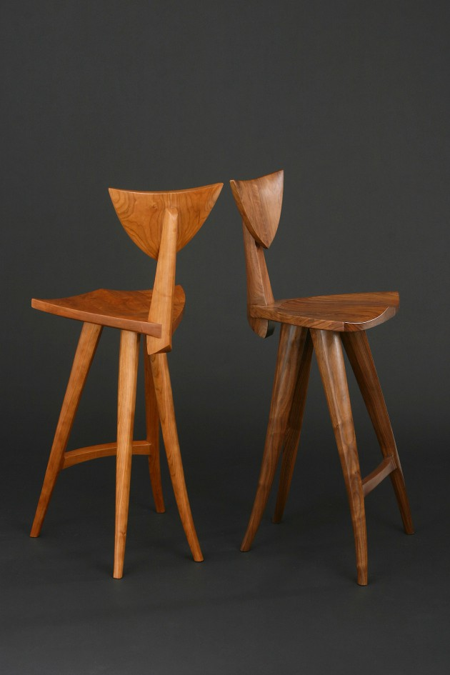 Comfortable wood barstools hand carved by Seth Rolland fine furniture