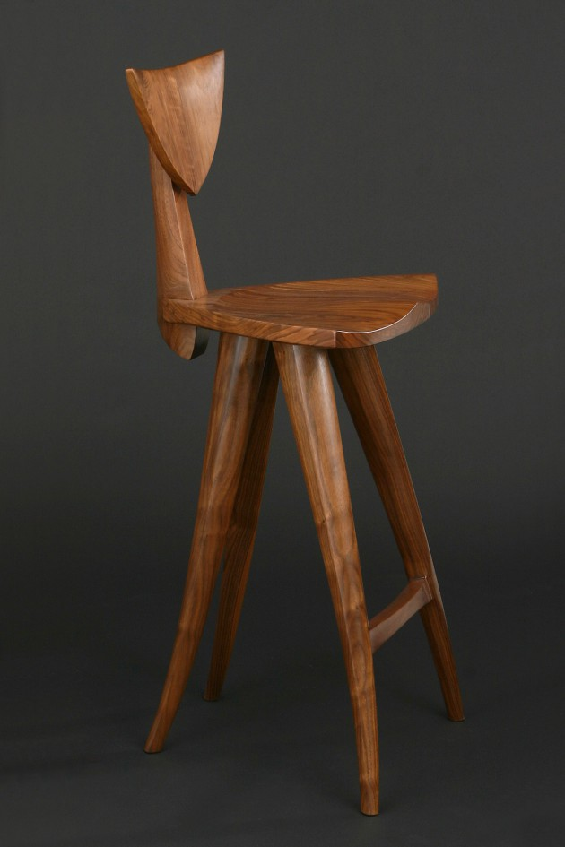 Walnut bar stool carved and shaped by Seth Rolland custom furniture design