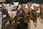 Group of Finback wood chairs, comfortable armchairs by Seth Rolland custom furniture design