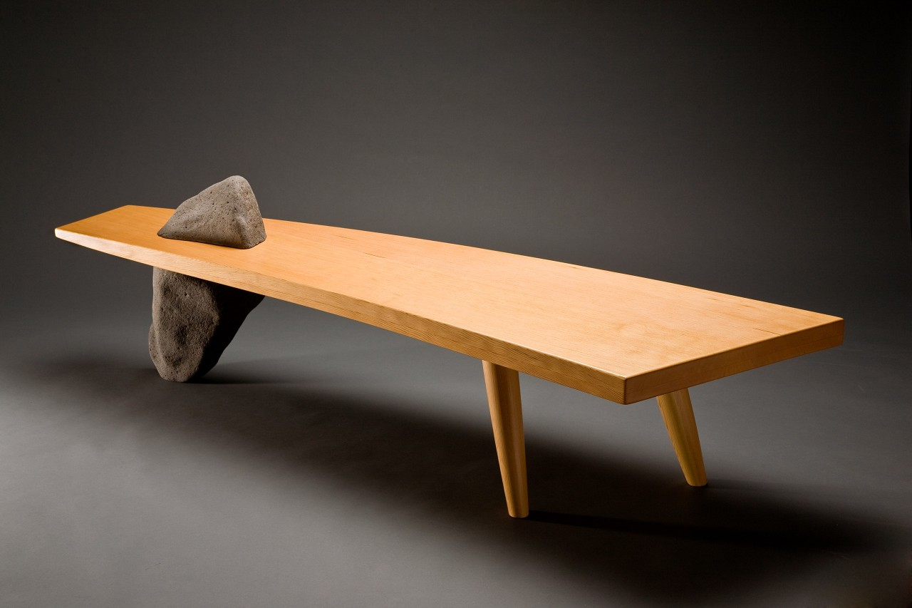 Gibraltar bench curved wood with stone leg can be used as a coffee table or custom sized by Seth Rolland fine furniture