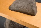 detail of stone and wood Gibraltar bench individually made by Seth Rolland custom furniture design