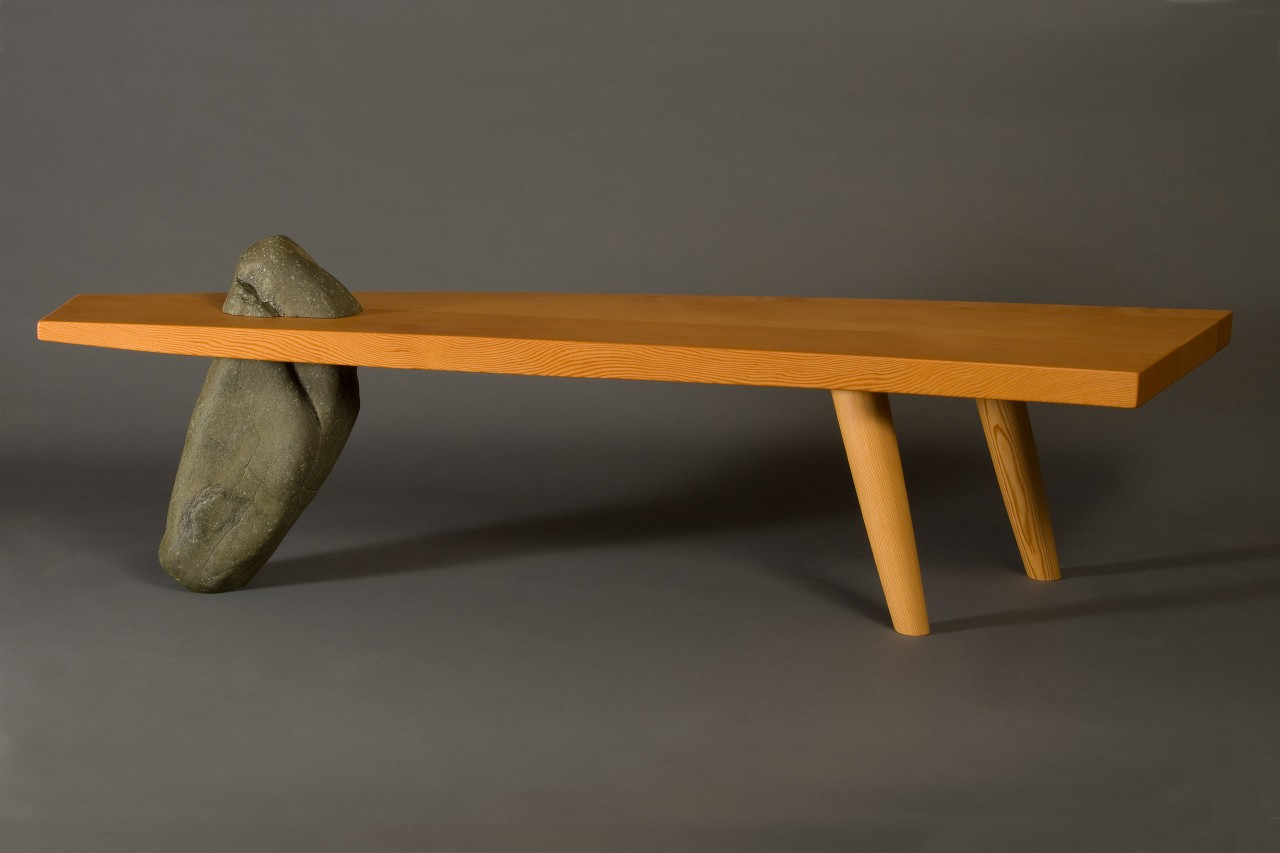 Gibraltar bench or coffee table custom made from stone and wood by Seth Rolland furniture design