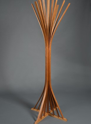 steam bent cherry wood hall tree for hats hand crafted by Seth Rolland custom furniture design