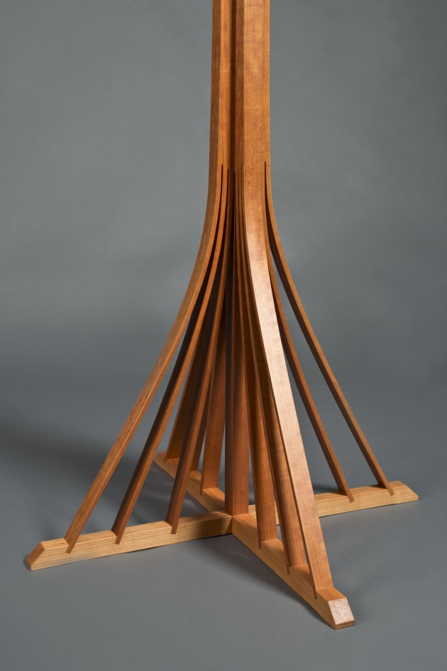 base of Harvest Hall Tree carved and bent from solid cherry wood by Seth Rolland woodworking