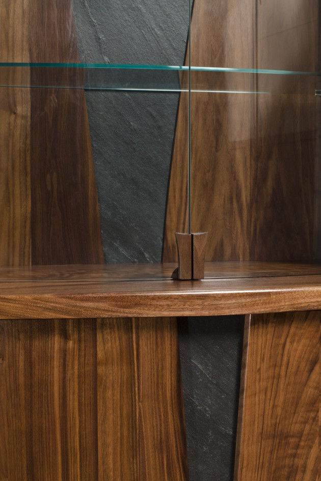 detail of Holman dining room display cabinet by Seth Rolland custom furniture design