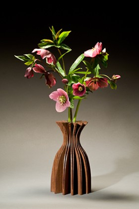 modern wood bud vase hand crafted by Seth Rolland custom furniture design